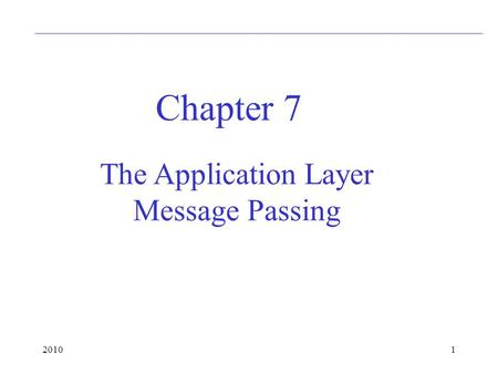20101 Chapter 7 The Application Layer Message Passing.