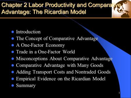 Ricardian comparative advantage theory