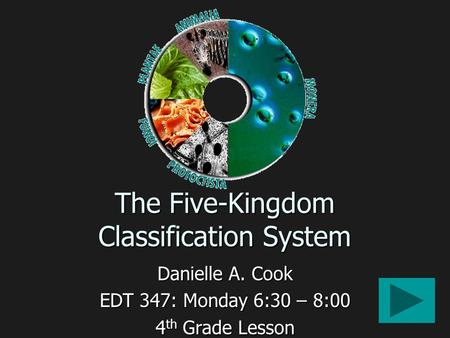 The Five-Kingdom Classification System Danielle A. Cook EDT 347: Monday 6:30 – 8:00 4 th Grade Lesson.