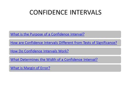 CONFIDENCE INTERVALS What is the Purpose of a Confidence Interval?How are Confidence Intervals Different from Tests of Significance?How Do Confidence Intervals.
