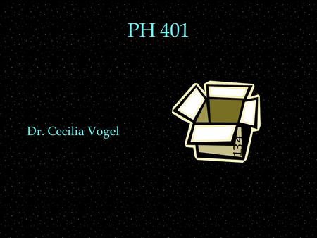 PH 401 Dr. Cecilia Vogel. Review Outline  Particle in a box  solve TISE  stationary state wavefunctions  eigenvalues  stationary vs non-stationary.