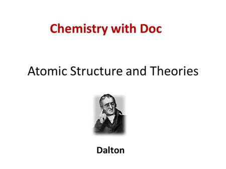 Atomic Structure and Theories Dalton Chemistry with Doc.