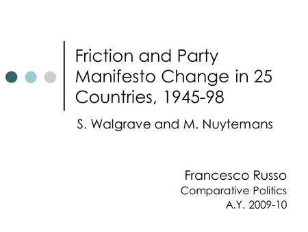 Friction and Party Manifesto Change in 25 Countries, 1945-98 S. Walgrave and M. Nuytemans Francesco Russo Comparative Politics A.Y. 2009-10.