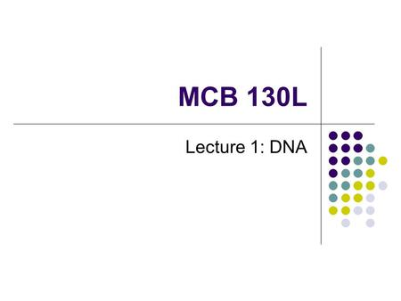 MCB 130L Lecture 1: DNA. Central Dogma of Molecular Biology Proposed by Francis Crick, 1958.