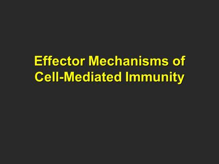 Effector Mechanisms of Cell-Mediated Immunity. Cell Mediated Immunity Historically, immunologist have divided adaptive immunity into namely: CMI, which.