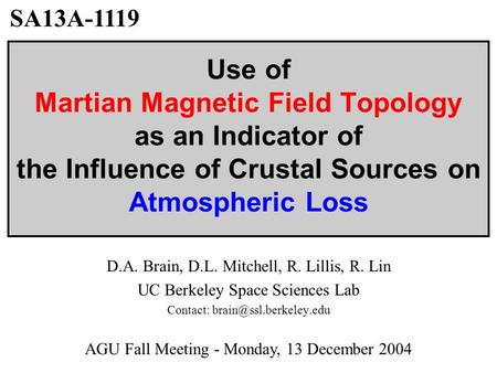 Use of Martian Magnetic Field Topology as an Indicator of the Influence of Crustal Sources on Atmospheric Loss D.A. Brain, D.L. Mitchell, R. Lillis, R.