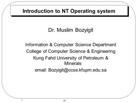 Introduction to NT Operating system