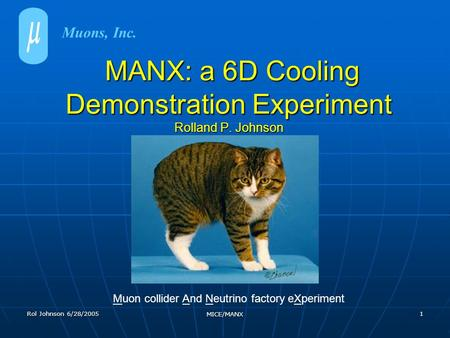 Rol Johnson 6/28/2005 MICE/MANX 1 MANX: a 6D Cooling Demonstration Experiment Rolland P. Johnson MANX: a 6D Cooling Demonstration Experiment Rolland P.