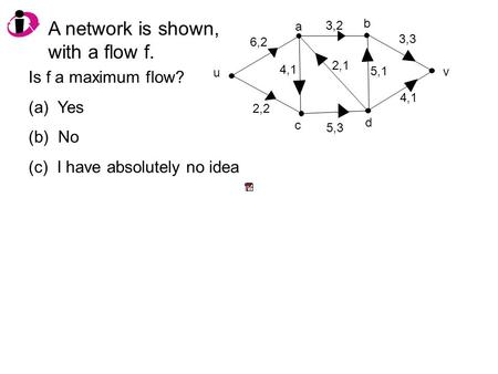 A network is shown, with a flow f. v u 6,2 2,2 4,1 5,3 2,1 3,2 5,1 4,1 3,3 Is f a maximum flow? (a) Yes (b) No (c) I have absolutely no idea a b c d.