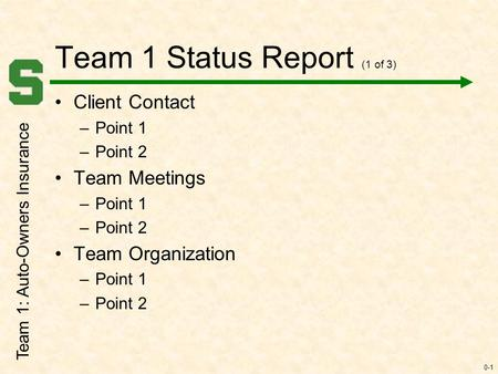 0-1 Team 1 Status Report (1 of 3) Client Contact –Point 1 –Point 2 Team Meetings –Point 1 –Point 2 Team Organization –Point 1 –Point 2 Team 1: Auto-Owners.