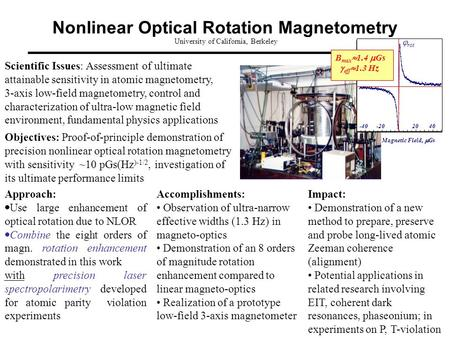 Nonlinear Optical Rotation Magnetometry University of California, Berkeley Objectives: Proof-of-principle demonstration of precision nonlinear optical.