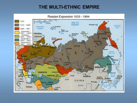 THE MULTI-ETHNIC EMPIRE. RUSSIA'S ETHNIC DIVERSITY  1897 Census: population = 123 million, over 100 different ethnicities  Slavs = 73.12% Russians =