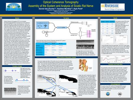 POSTER TEMPLATE BY: www.PosterPresentations.com Optical Coherence Tomography Assembly of the System and Analysis of Sciatic Rat Nerve Daniel deLahunta.
