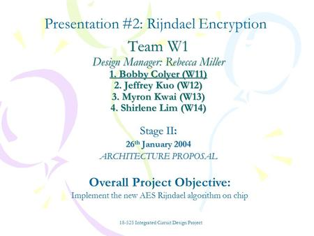 Team W1 Design Manager: Rebecca Miller 1. Bobby Colyer (W11) 2. Jeffrey Kuo (W12) 3. Myron Kwai (W13) 4. Shirlene Lim (W14) Stage II: 26 th January 2004.