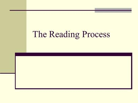 The Reading Process.