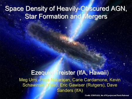 Space Density of Heavily-Obscured AGN, Star Formation and Mergers Ezequiel Treister (IfA, Hawaii Ezequiel Treister (IfA, Hawaii) Meg Urry, Priya Natarajan,