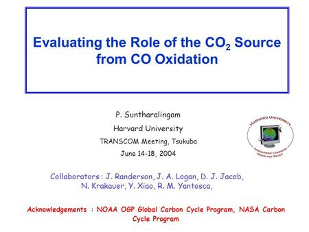 Evaluating the Role of the CO 2 Source from CO Oxidation P. Suntharalingam Harvard University TRANSCOM Meeting, Tsukuba June 14-18, 2004 Collaborators.