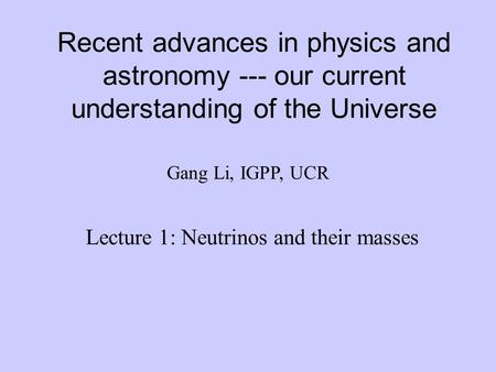 Lecture 1: Neutrinos and their masses