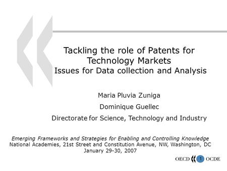 1 Tackling the role of Patents for Technology Markets Issues for Data collection and Analysis Maria Pluvia Zuniga Dominique Guellec Directorate for Science,