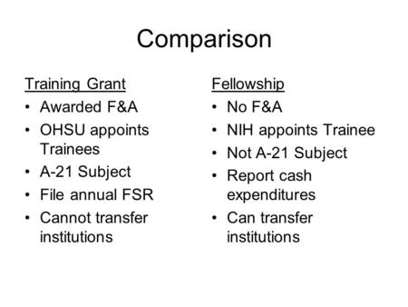 Comparison Training Grant Awarded F&A OHSU appoints Trainees A-21 Subject File annual FSR Cannot transfer institutions Fellowship No F&A NIH appoints Trainee.