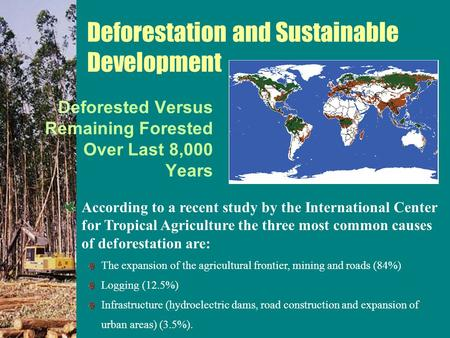 Deforested Versus Remaining Forested Over Last 8,000 Years According to a recent study by the International Center for Tropical Agriculture the three most.