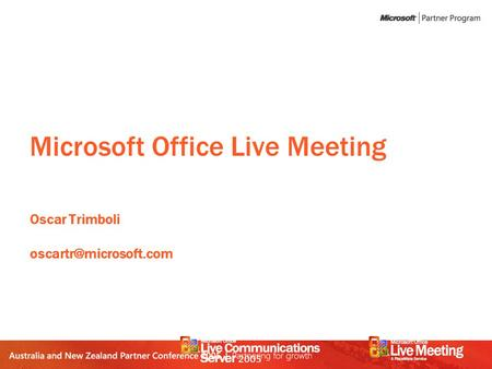 Microsoft Office Live Meeting Oscar Trimboli