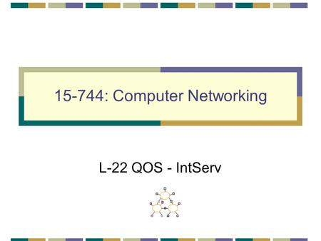 15-744: Computer Networking L-22 QOS - IntServ. L -22; 4-9-01© Srinivasan Seshan, 20012 QOS & IntServ QOS IntServ Architecture Assigned reading [She95]