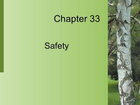 Chapter 33 Safety. 33-2 Copyright 2004 by Delmar Learning, a division of Thomson Learning, Inc. Safety Culture  Safety is a functional concern of nurses.