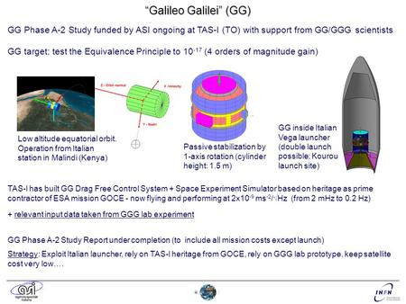 """Galileo Galilei"" (GG) GG Phase A-2 Study funded by ASI ongoing at TAS-I (TO) with support from GG/GGG scientists GG target: test the Equivalence Principle."