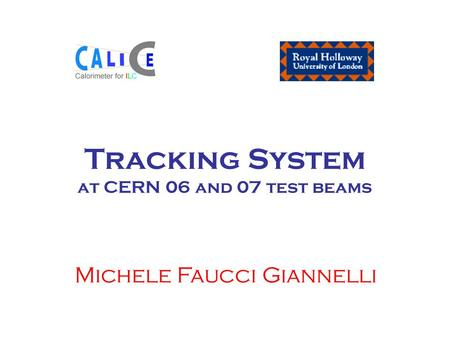 Tracking System at CERN 06 and 07 test beams Michele Faucci Giannelli.