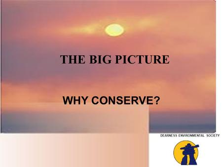 DEARNESS ENVIRONMENTAL SOCIETY THE BIG PICTURE WHY CONSERVE?