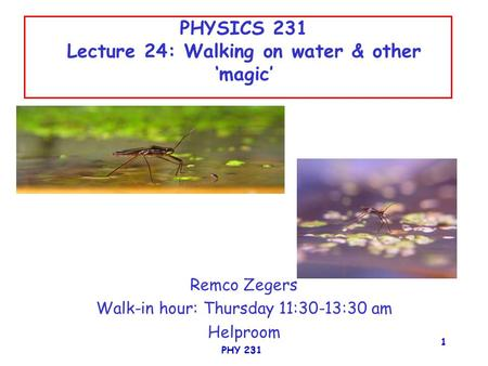 PHYSICS 231 Lecture 24: Walking on water & other 'magic'