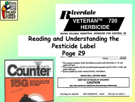 Reading and Understanding the Pesticide Label Page 29.
