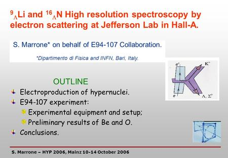 Electroproduction of hypernuclei. E94-107 experiment: Experimental equipment and setup; Preliminary results of Be and O. Conclusions. S. Marrone – HYP.