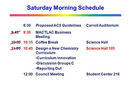 Saturday Morning Schedule 8:30Proposed ACS GuidelinesCarroll Auditorium 9:459:30MACTLAC Business Meeting 10:3010:15Coffee BreakScience Hall 11:0010:45Design.