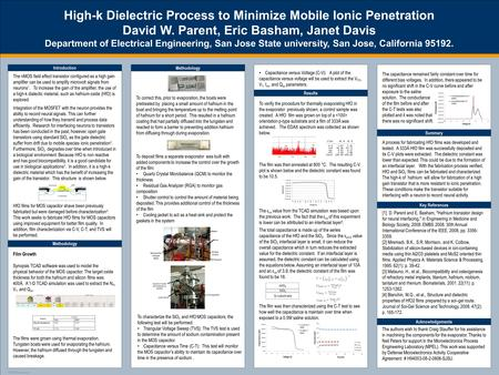TEMPLATE DESIGN © 2008 www.PosterPresentations.com High-k Dielectric Process to Minimize Mobile Ionic Penetration David W. Parent, Eric Basham, Janet Davis.