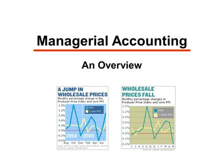 Managerial Accounting An Overview. Role in Decision-Making  Provides economic and financial information to management  Focus on resources, costs, profit.