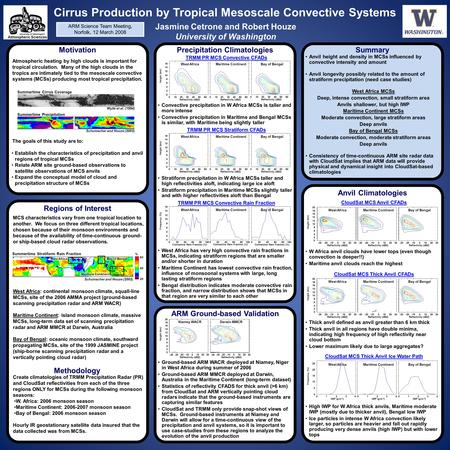 Cirrus Production by Tropical Mesoscale Convective Systems Jasmine Cetrone and Robert Houze University of Washington Motivation Atmospheric heating by.