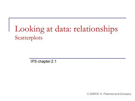 Looking at data: relationships Scatterplots IPS chapter 2.1 © 2006 W. H. Freeman and Company.
