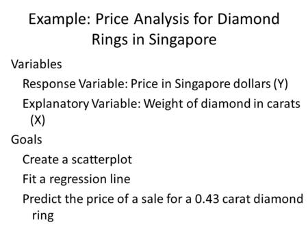 Example: Price Analysis for Diamond Rings in Singapore Variables Response Variable: Price in Singapore dollars (Y) Explanatory Variable: Weight of diamond.