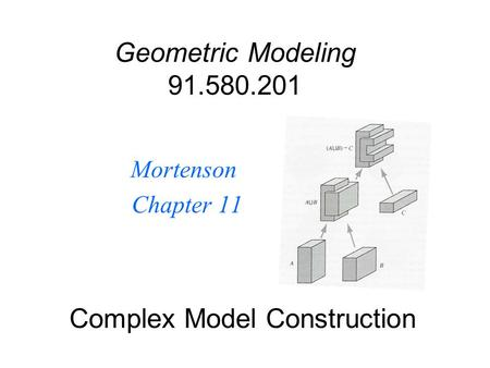 Complex Model Construction Mortenson Chapter 11 Geometric Modeling 91.580.201.