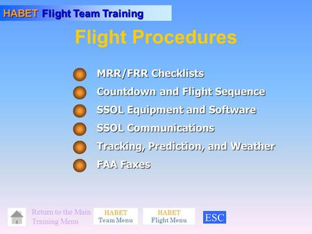 HABET Flight Team Training HABET Team Menu Return <strong>to</strong> the Main Training Menu HABET Flight Menu MRR/FRR Checklists Countdown and Flight Sequence FAA Faxes.