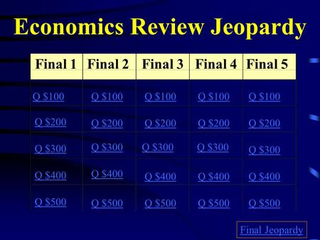 Economics Review Jeopardy Final 1Final 2Final 3Final 4Final 5 Q $100 Q $200 Q $300 Q $400 Q $500 Q $100 Q $200 Q $300 Q $400 Q $500 Final Jeopardy.