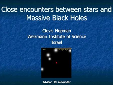 Close encounters between stars and Massive Black Holes Clovis Hopman Weizmann Institute of Science Israel Advisor: Tal Alexander.