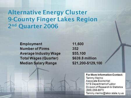 Alternative Energy Cluster 9-County Finger Lakes Region 2 nd Quarter 2006 Employment11,600 Number of Firms352 Average Industry Wage$55,100 Total Wages.