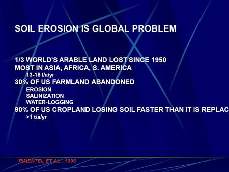 SOIL EROSION IS GLOBAL PROBLEM 1/3 WORLD'S ARABLE LAND LOST SINCE 1950 MOST IN ASIA, AFRICA, S. AMERICA 13-18 t/a/yr 30% OF US FARMLAND ABANDONED EROSION.