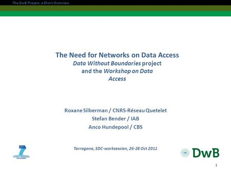 The Need for Networks on Data Access Data Without Boundaries project and the Workshop on Data Access Roxane Silberman / CNRS-Réseau Quetelet Stefan Bender.