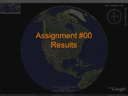 Assignment #00 Results. The raw data Poland Thailand Spain Scotland England Hungary Ireland Spain Korea Brazil Ireland Spain.
