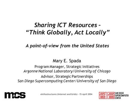"EInfrastructures (Internet and Grids) - 15 April 2004 Sharing ICT Resources – ""Think Globally, Act Locally"" A point-of-view from the United States Mary."