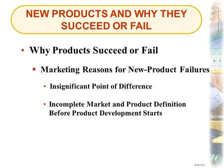 NEW PRODUCTS AND WHY THEY SUCCEED OR FAIL Slide 10-30 Why Products Succeed or Fail  Marketing Reasons for New-Product Failures Marketing Reasons for New-Product.
